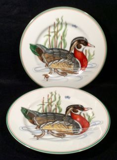 """Lot of 2 Fitz and Floyd CANARD SAUVAGE Orange Wooduck Salad Plates Dinnerware 7 1/2"""" diameter Circa 1980 MINT Condition by libertyhallgirl on Etsy $24.99 for 2 plates"""