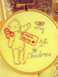 #hoop_art #vintage #embroidery #broderie #natale #punto_erba #punto_pieno #50s #teddy_bear