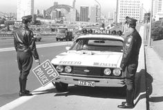 Highway Patrol officers (New South Wales Australia) standing next to their Ford Falcon patrol car Sydney (Note Sydney Harbour Bridge in the background) Sacramento, Brooklyn, Atlanta, Georgia, Australian Cars, Australian Vintage, Aussie Muscle Cars, Ford Classic Cars, Classic Bikes