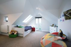 Loft conversion in Claygate with beautiful ceiling structure.  #guestroom #landmarklofts #interiordesign #interiors #home #homeimprovement