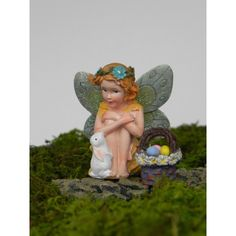 Easter Fairy Miniature Fairy Figurine Miniature Easter Bunny Miniature... ($5.50) ❤ liked on Polyvore featuring home, home decor, holiday decorations, grey, home & living, outdoor & gardening, mini figure, outdoor holiday decor, easter baskets and mini figurines