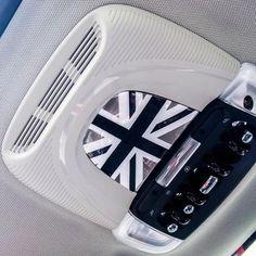 MINI cooper Interior Light Panel 3D PU sticker Union Jack Checker F55 F56 F54
