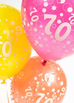 Birthday celebration balloons available in pink yellow and orange 70th Birthday Parties, Birthday Celebration, Celebration Balloons, Balloon Shop, Balloon Bouquet, Pink Yellow, Special Occasion, Orange, Create