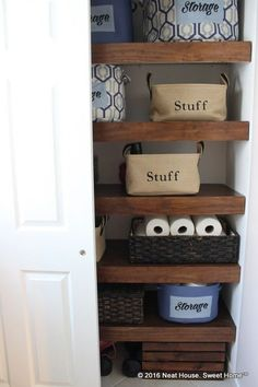 Goodbye ugly wire shelving. Give your closet a custom-built look with these DIY wood covers. #Scott100More #ad