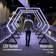 transition from silent to main event? Or to direct crowd flow when first arriving upstairs? Stage Set Design, Church Stage Design, Light Tunnel, Corporate Event Design, Light Art Installation, Exhibition Booth Design, Garage Design, Stage Lighting, Store Design