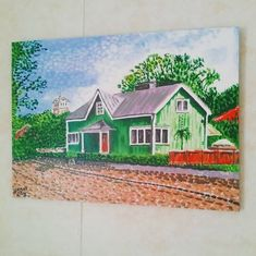 a painting called 'Green House' from x …I've no idea why I painted this one! Acrylic Painting Canvas, Canvas Art, Kingdom Of Denmark, Original Art For Sale, Typography Art, Vintage Travel Posters, Finland, Art Boards