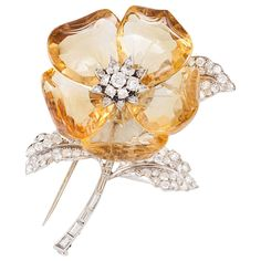 Citrine Diamond Floral Design Brooch | From a unique collection of vintage brooches at https://www.1stdibs.com/jewelry/brooches/brooches/