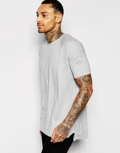 ASOS+Longline+T-Shirt+With+Cut+And+Sew+Seaming+And+Angled+Hem
