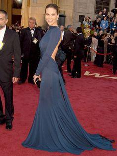 The Best Oscar Dresses of All Time: Hillary Swank, 2005, Guy Laroche