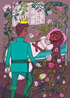Emmi Jormalainen fairytale illustration sleeping beauty Brothers Grimm, Blue Fairy, Handsome Prince, Briar Rose, Fairy Tales, Sleeping Beauty, Classic, Anime, Fictional Characters
