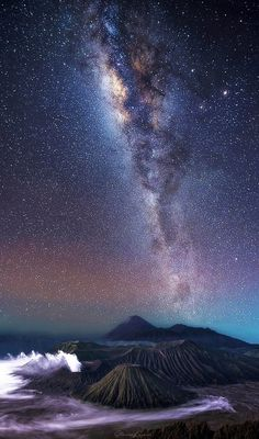 Stunning photos capture the Milky Way arching over volcanoes