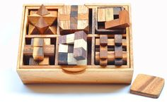 6 Puzzle Set Games & Puzzles Wooden Puzzle Box