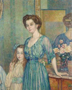 Madame Bodenhausen avec sa fille, Théo van Rysselberghe.