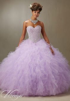 Quinceanera Dress Vizcaya Morilee 89077 Pearled beaded bodice on a ruffled tulle ball gown Colors: Light purple, light blue, blush and white