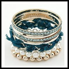 Blue lace multi-layer pearl bling bracelet Book here: http://fabity.com/ Curated By Fabity <3