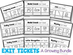 Kindergarten Exit tickets for Literacy.