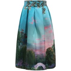 With Zipper Tree Print Skirt ($14) ❤ liked on Polyvore featuring skirts, multicolor, zip skirt, zipper skirt, flared skirt, blue skirt and multi color skirt