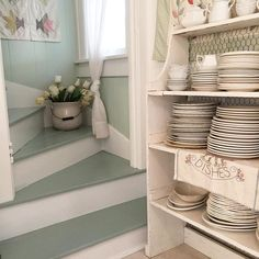 These look like my attic stairs, except mine are unfinished - these are pretty (painted risers white and the treads Benjamin Moore Wythe Blue)