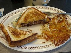 waffle house patty melt, scattered, smothered, covered, topped, and chunked