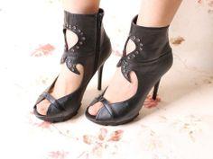 Black Sexy Hollow Rhinestone Peep Toe Sandals