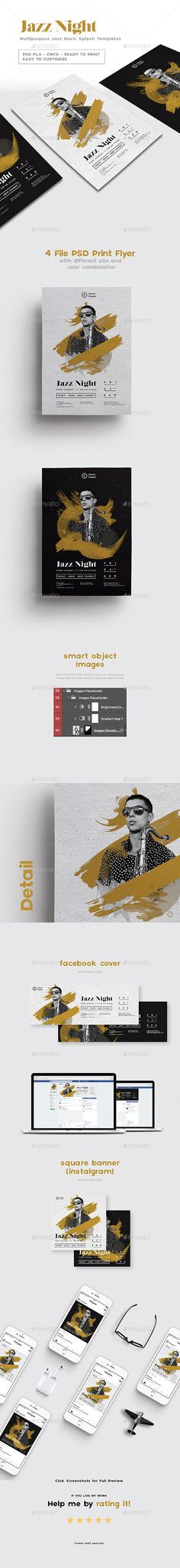Multipurpose Jazz Music Splash Flyer Templates PSD