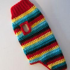 stripes dog coat sweater doggy pet free crochet pattern