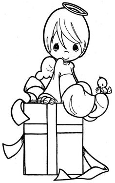 angel and Christmas gift coloring page