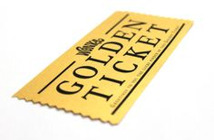Generic Golden Ticket by OhhSoNice on Etsy, $9.00