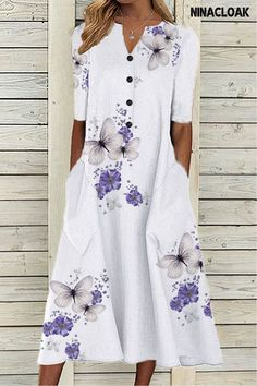 # Cotton Blend # Midi Skirt # Casual Style # Regular Hem # Printing # Leisure (free Time) # V-neck # All Season # women's fashion dresses # All Season # White Maxi Dresses, Cotton Dresses, Casual Dresses, Summer Dresses, Latest Fashion Dresses, Skirt Fashion, Fashion Trends, Floryday Vestidos, Rock Design
