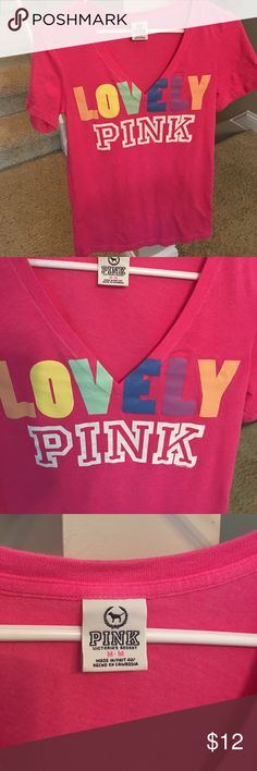 Pink pink brand v neck tee size medium. Pink pink brand v neck t shirt size medium in great shape no holes rips or tears. Smoke free home. PINK Victoria's Secret Tops Tees - Short Sleeve