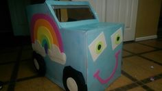 Cardboard box car for a drive in movie! When my girl asks for a rainbow princess car, mama delivers! Baby Crafts, Crafts For Kids, Princess Car, Cardboard Car, Movies Box, School Projects, Summer Fun, Toy Chest, Activities For Kids