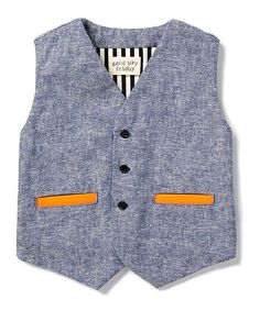 Take a look at this Blue Chambray Linen-Blend Pocket Vest - Toddler  Boys on zulily today!