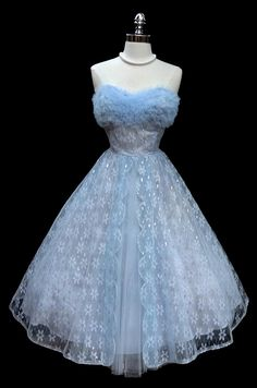 1950's baby blue and metallic silver lace and tulle party dress.
