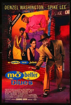 Mo' Better Blues a young Denzel Washington and Spike Lee. about a Jazz trumpeter with an equal talent for music, women and trouble. Great music by the Branford Marsalis Quartet featuring Terence Blanchard. Denzel Washington, 1990 Movies, Good Movies, Movies Showing, Movies And Tv Shows, Spike Lee Movies, Mo' Better Blues, African American Movies, American Art
