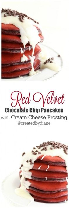 red velvet chocolate chip pancakes with cream cheese frosting recipes /createdbydiane/