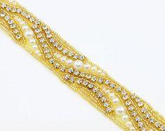 RABATT 1 Yd Klar Gold Strass Kette künstliche Perlen BrautKleid Nähe Applikation
