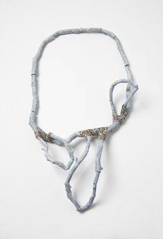 "Carina Chitsaz-Shoshtary - ""Confused Branches 1"", necklace, 2014. Wood, graffiti, silver, steel wire. Photo: Mirei Takeuchi"