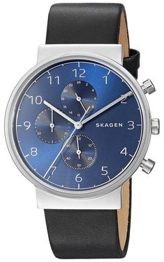 Skagen Men's Ancher Chronograph Watch - Watches for Men and Women Skagen Watches, Big Watches, Best Watches For Men, Luxury Watches, Cool Watches, Wrist Watches, Crown And Buckle, Hand Watch, Black Models