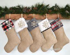 Christmas Stockings Personalized Christmas Stocking Set of Family Christmas Stockings, Cabin Christmas, Xmas Stockings, Noel Christmas, Rustic Christmas, Winter Christmas, Christmas Crafts, Burlap Stockings, Christmas Tree Decorations Ribbon