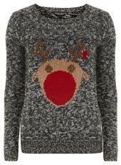 Grey Rudolph Christmas jumper