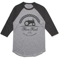 theIndie Farm Fresh (Grey) 3/4-Sleeve Raglan Baseball T-Shirt