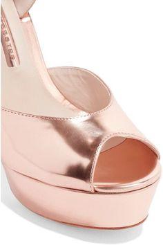 Sophia Webster - Raye Bow-embellished Metallic Leather Platform Sandals - Pink - IT38.5
