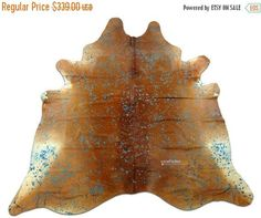 ON SALE Hereford Cowhide Rug Size 7.7 X 7.5 ft Turquoise Acid Wash on Brown and White Cow Hide Rug G-986 by Cowhidesusa