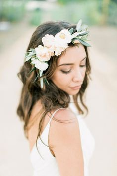 A floral crowned bride: http://www.stylemepretty.com/2015/12/29/al-fresco-catalina-view-gardens-wedding/ | Photography: Troy Grover - http://blog.troygrover.com/