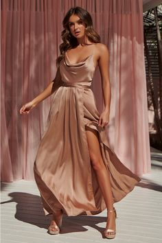 1e10bad50b 8 Best Champagne Maxi Bridesmaid Dresses images
