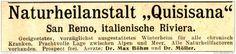 Original-Werbung/ Anzeige 1897 - NATURHEILANSTALT QUISISANA / SAN REMO - ca. 90 x 20 mm