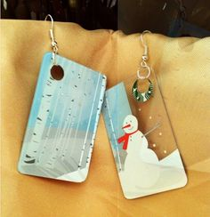 Upcycled Gift Card Earrings by pugandbasset on Etsy, $7.50