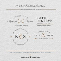 emblemas de boda Vector Gratis