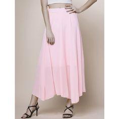 Flowy Chiffon Beach Skirt (1.045 RUB) ❤ liked on Polyvore featuring skirts, pink chiffon skirt, chiffon skirts, chiffon knee length skirt, pink skirt and chiffon beach skirt