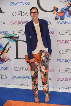White Shirt + Navy Blazer + Floral Pants + Brown/Nude Sandals